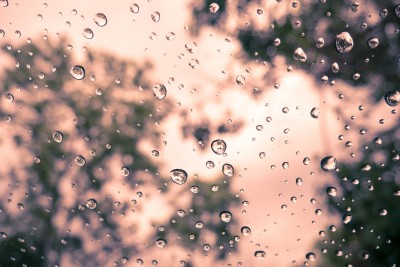 Drops on window with retro color effected