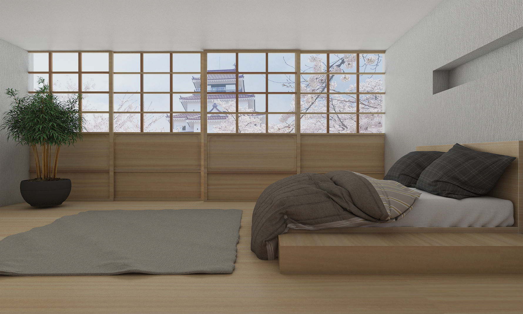 Modern bedroom interior with japanese style-3d rendering