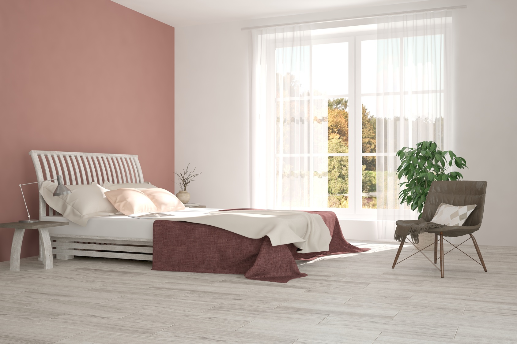 Inspiration of white minimalist  bedroom with autumn landscape in window. Scandinavian interior design. 3D illustration
