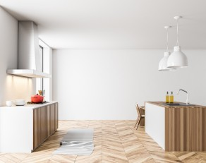 White loft kitchen with a cooker