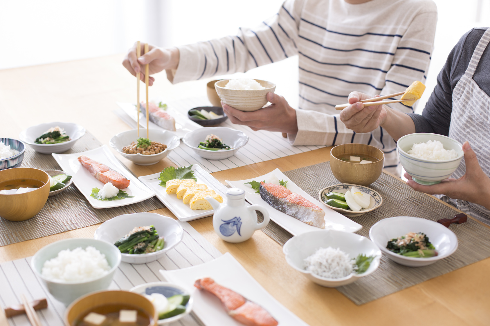 A couple eating breakfast in Japan