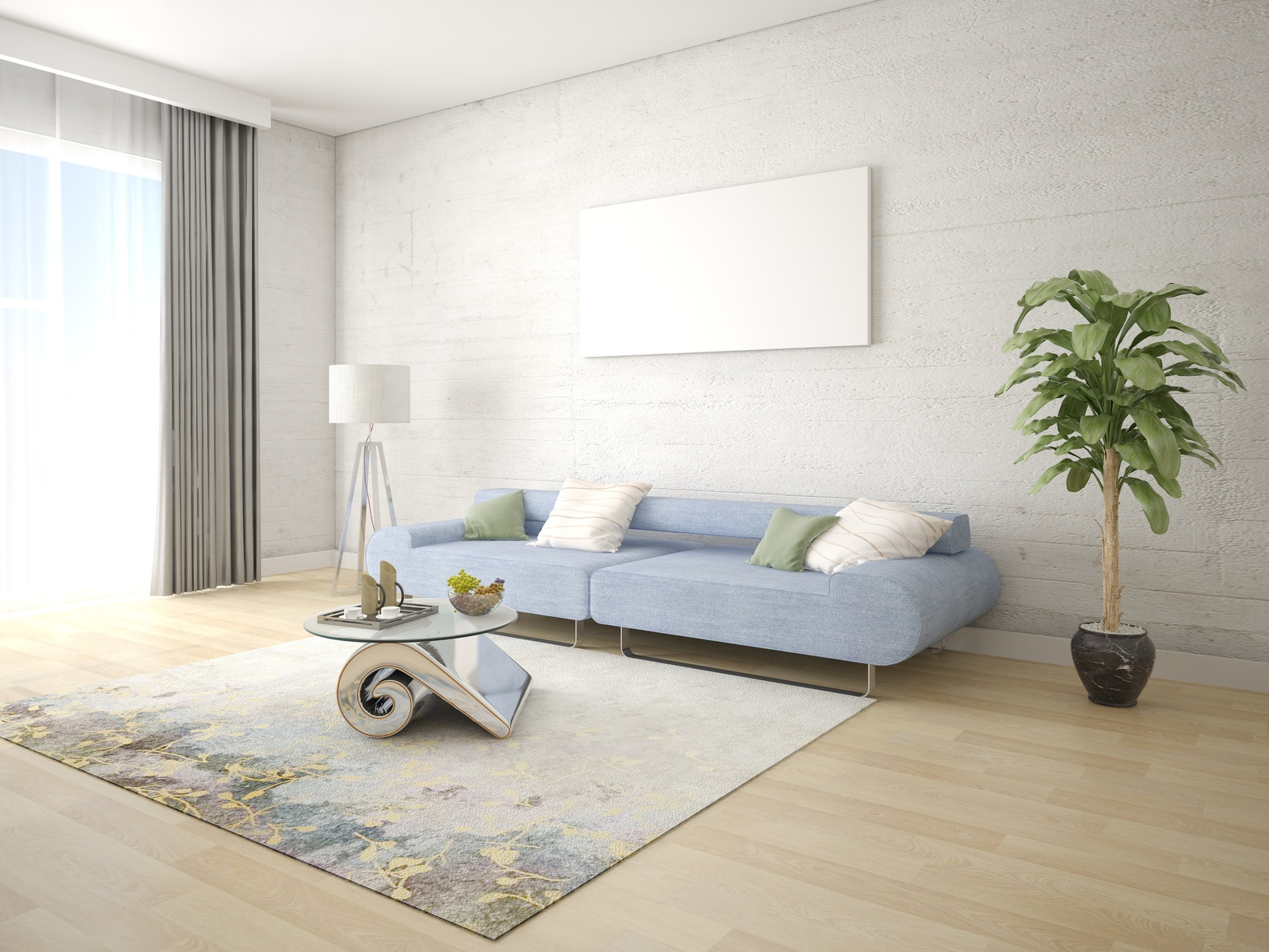 Mock up a fashionable living room with a stylish compact sofa and a light hipster background.